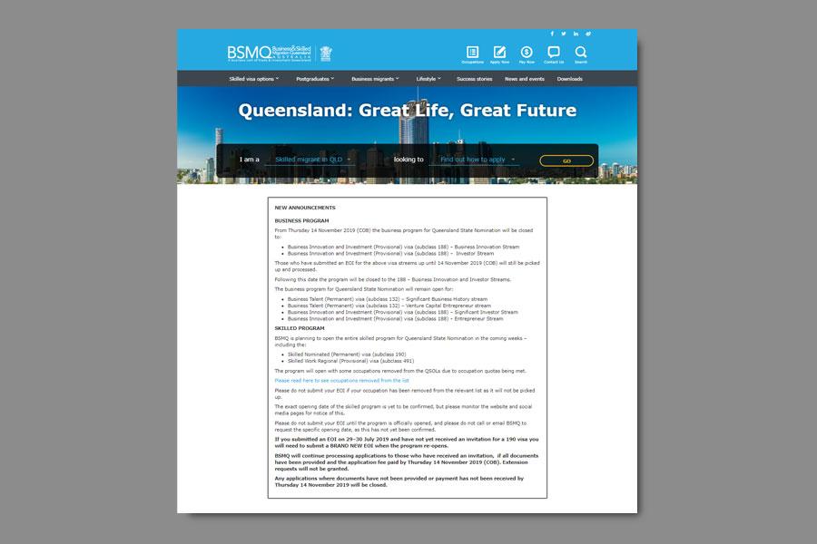 Định cư Úc - Bang Queensland tạm đóng cửa chương trình Đầu tư và Doanh nhân (Visa 188)